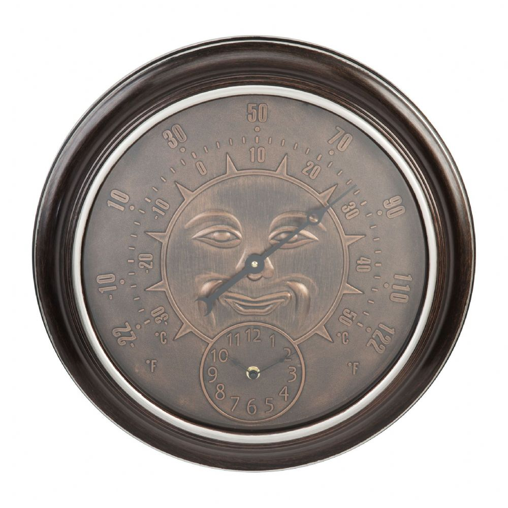 Bronze Effect Sun Home | Garden Wall Clock & Thermometer  by Country Living
